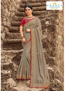 Divine Grey Dola Silk Saree with Maroon Blouse