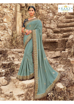 Gorgeous Blue Dola Silk Saree with Dark Blue Blouse