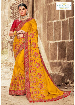 Magnificient Mustard Satin Silk Saree with Maroon Blouse