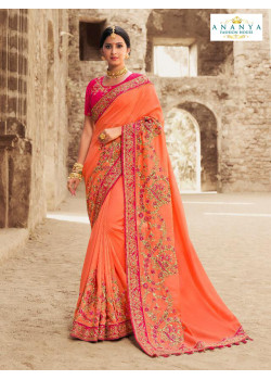 Charming Orange Russian Silk Saree with Magenta Blouse