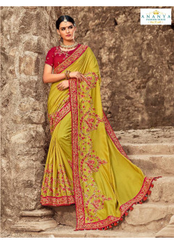 Dazzling Green Russian Silk Saree with Maroon Blouse