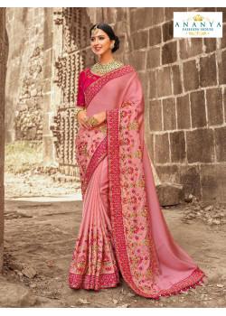 Exotic Pink Satin Silk Saree with Magenta Blouse