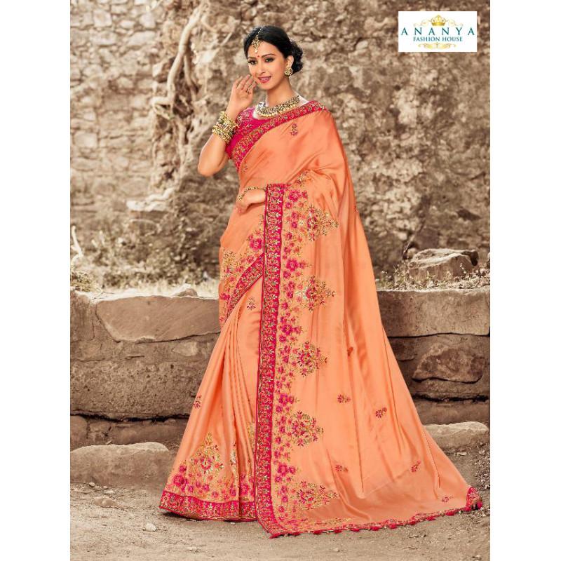 Flamboyant Peach Satin Silk Saree with Magenta Blouse
