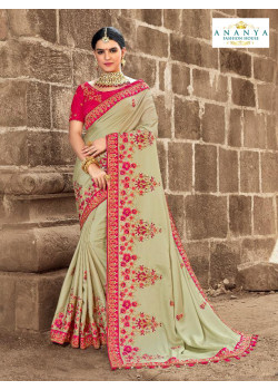 Luscious Pista Green Satin Silk Saree with Magenta Blouse