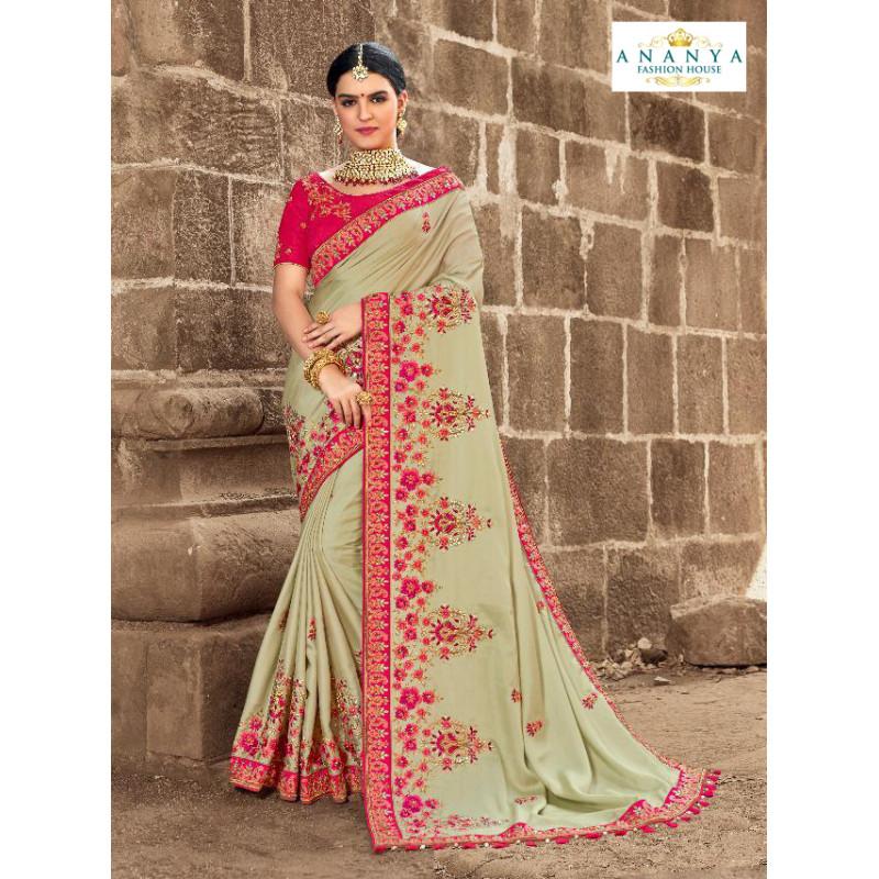 Luscious Pista Green Satin Silk Saree with Magenta Blouse