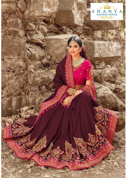 Melodic Wine Russian Silk Saree with Magenta Blouse