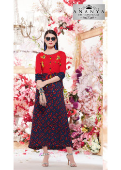 Enigmatic Blue, Red Rayon Kurti