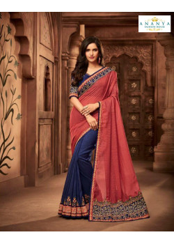 Classic Pink- Blue Silk Saree with Blue Blouse