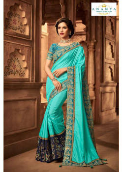 Adorable Light Blue Silk Saree with Light Blue Blouse