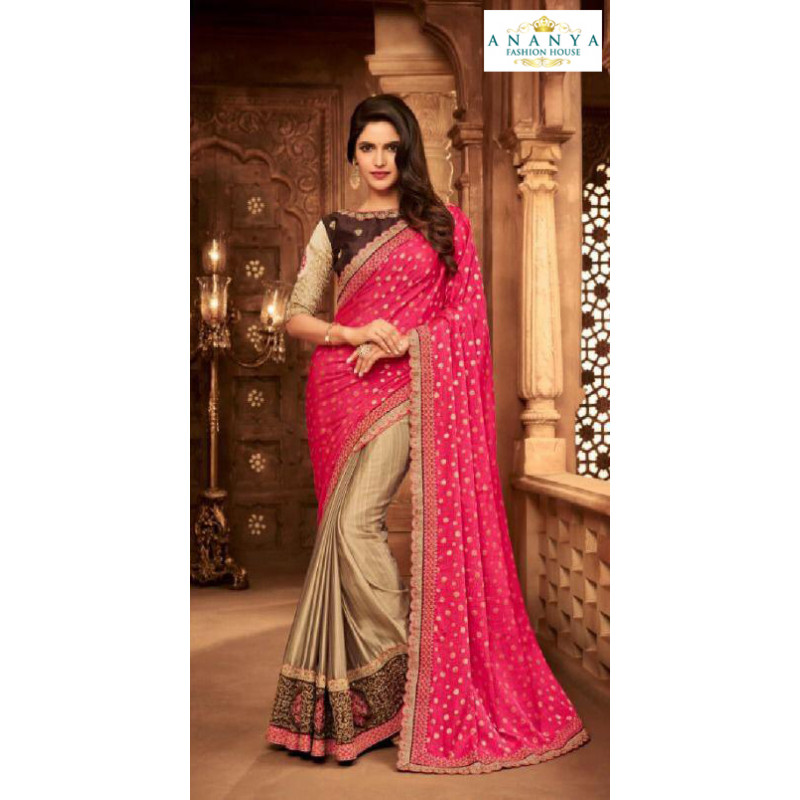 Luscious Magenta- Copper Silk Saree with Brown Blouse