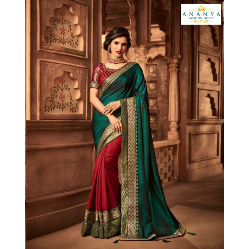 Charming Turquiose- Maroon Silk Saree with Maroon Blouse