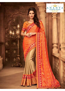 Dazzling Orange- Beige Silk Saree with Orange Blouse