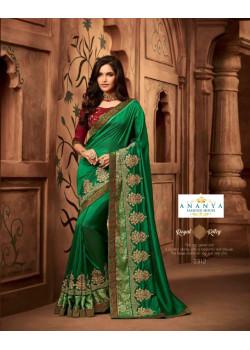 Divine Sea Green Silk Saree with Maroon Blouse
