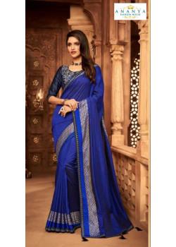 Incredible Blue Silk Saree with Dark Blue Blouse