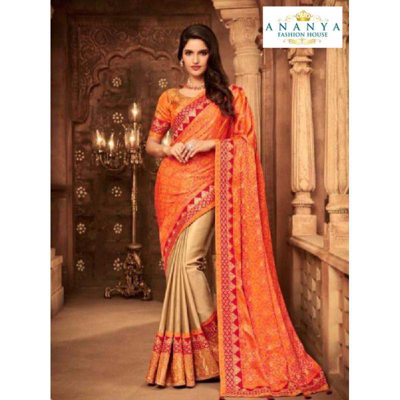 Dazzling Orange- Beige Silk Saree with Orange Blouse