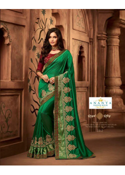 Divine Sea Green Silk Saree with Maroon Blouse