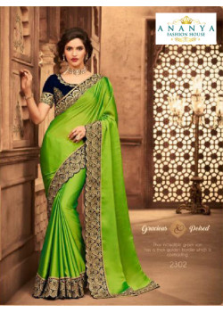 Enigmatic Green Silk Saree with Dark Blue Blouse
