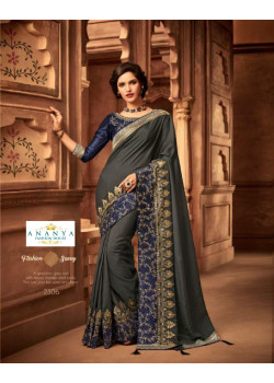 Flamboyant Grey Silk Saree with Blue Blouse