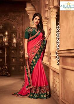 Gorgeous Pink Silk Saree with Turquiose Blouse