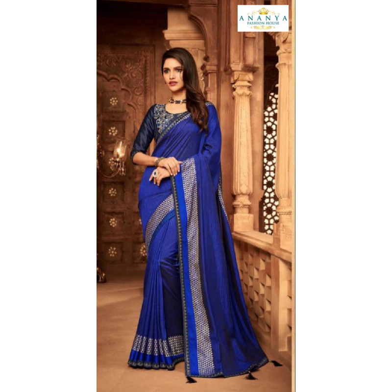 Incredible Blue Silk Saree with Dark Blue Blouse