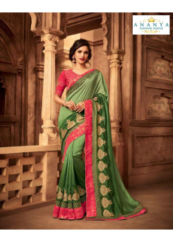 Magnificient Pista Green Silk Saree with Pink Blouse