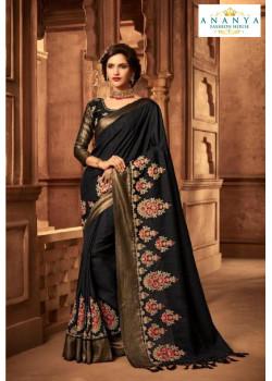 Melodic Black Silk Saree with Black Blouse