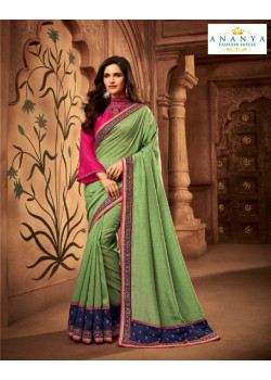 Melodic Pista Green Silk Saree with Magenta Blouse