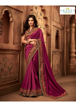 Trendy Purple Silk Saree with Multicolor Blouse