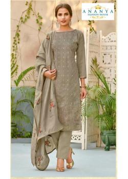 Trendy Grey Chanderi Salwar kameez