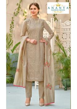 Charming Grey Chanderi Salwar kameez