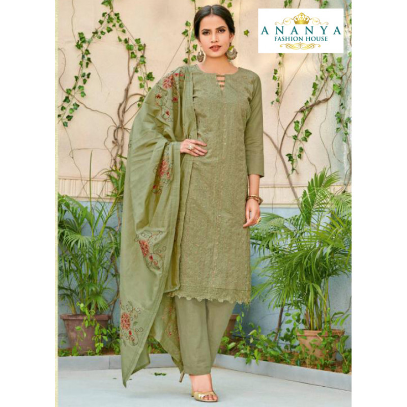 Dazzling Pista Green Chanderi Salwar kameez