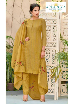 Luscious Mustard Chanderi Salwar kameez