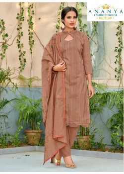 Melodic Brown Chanderi Salwar kameez