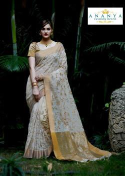Plushy White Silk Saree with Gold Blouse