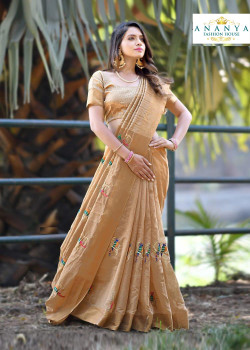 Adorable Gold Silk Saree with Gold Blouse