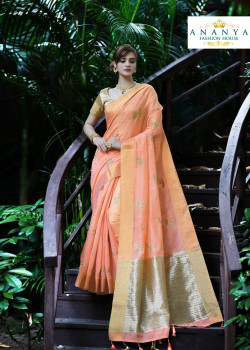 Classic Peach Silk Saree with Gold Blouse