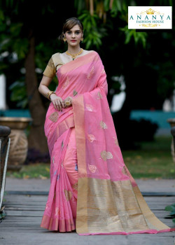 Enigmatic Pink Silk Saree with Gold Blouse
