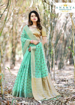 Melodic Blue Silk Saree with Gold Blouse