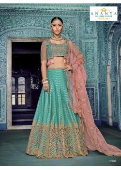 Exotic Light Blue color Silk - Santoon Designer Lehenga