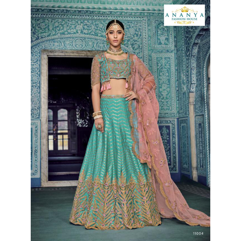 Exotic Light Blue color Silk - Santoon Designer Lehenga