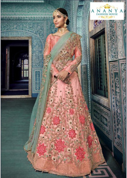 Gorgeous Pink color Net - Santoon Designer Lehenga
