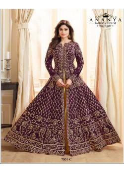 Magnificient Violet Silk Salwar kameez