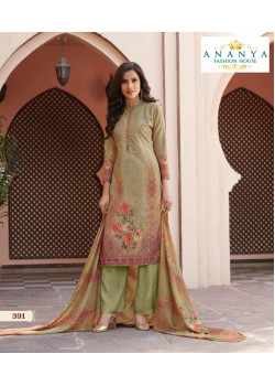 Adorable Olive Green Satin Salwar kameez