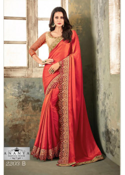 Dazzling Pink Silk Saree with Gold Blouse