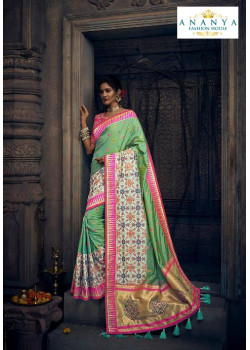 6ed07ea7634a5d Divine Pista Green Silk Saree with Pink Blouse