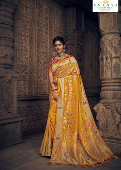 Incredible Yellow Silk Saree with Red Blouse