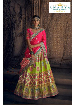 Plushy Green color Silk Designer Lehenga