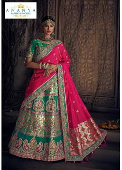 Classic Sea Green color Silk Designer Lehenga