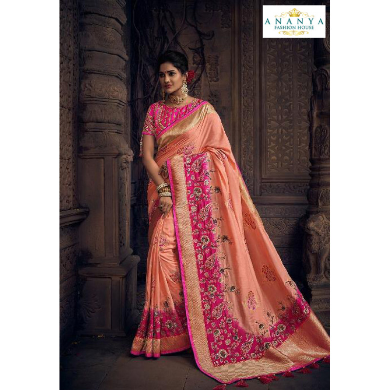 Enigmatic Peach Silk Saree with Pink Blouse