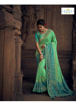 Exotic Green- Blue Silk Saree with Blue Blouse
